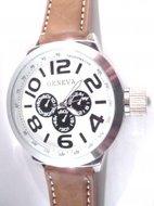 Geneva XXL Horloge bruine band met wit klokje